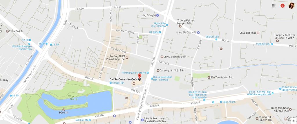 Bản đồ vị trí của Đại sứ quán Hàn Quốc tại Việt Nam