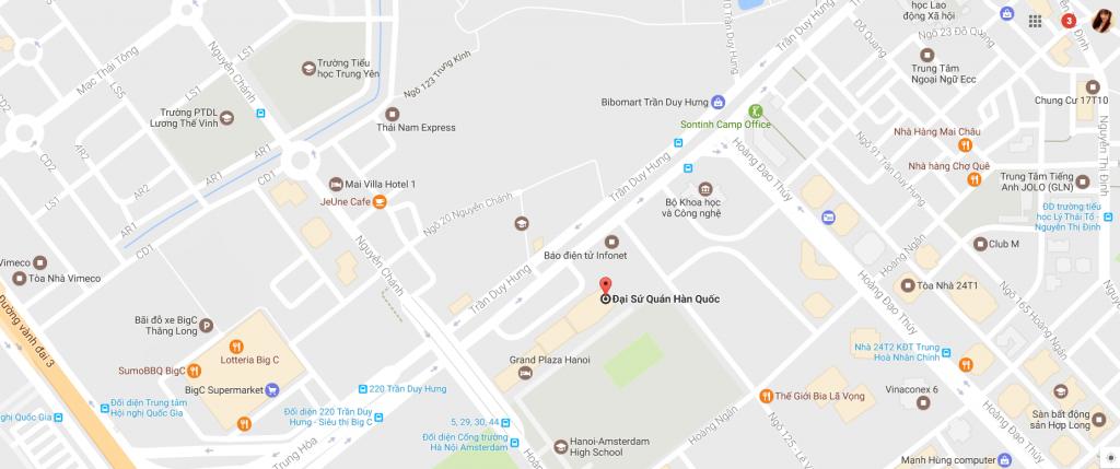 Bản đồ vị trí Lãnh sự quán Hàn Quốc tại Hà Nội