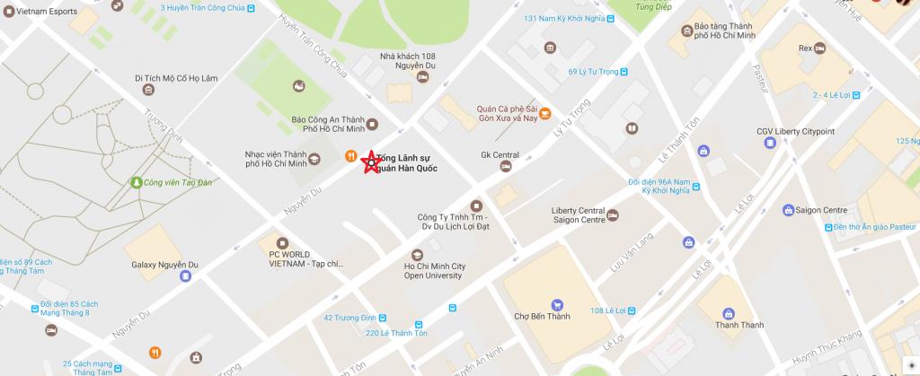 Bản đồ vị trí của Tổng lãnh sự quán Hàn Quốc tại TP. Hồ Chí Minh