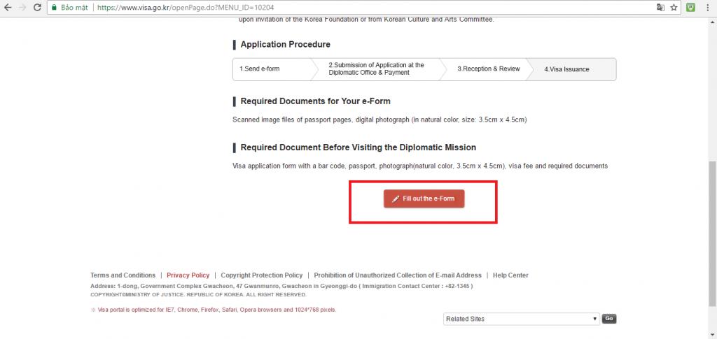 Click như ảnh để được điền form xin visa Online